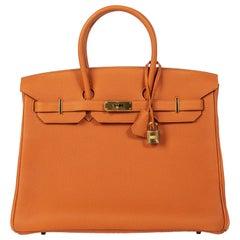 NEW Hermès Birkin 35 Orange Togo GHW