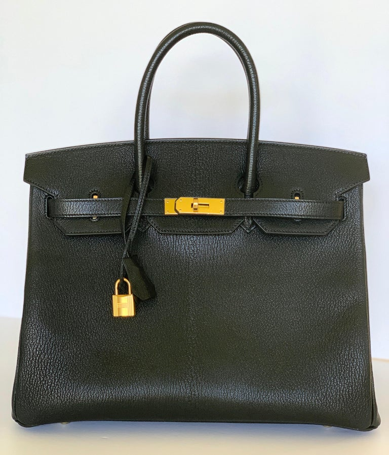 Hermes RARE Birkin 35 Chèvre de Coromandel one of the most coveted Hermès leathers.  It's sourced from male mountain goats, which gives the leather a resilience that differentiates it from others offered by Hermès. It is distinguished by its