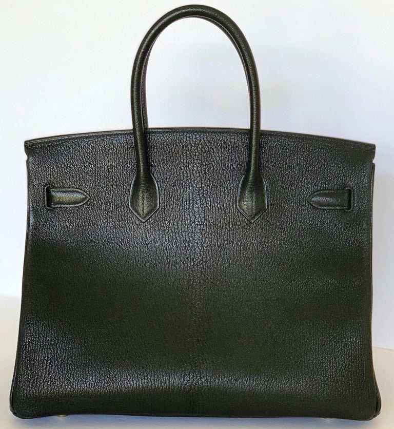 New Hermes Black Birkin 35cm Chevre de Coromandel Leather RARE In New Condition For Sale In Delray Beach, FL