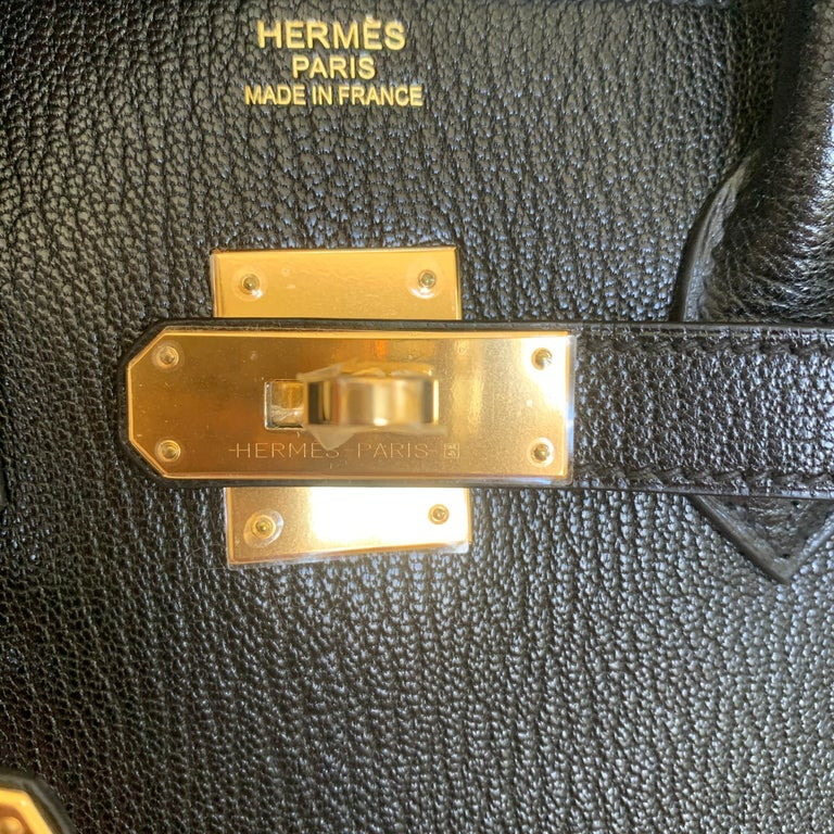 New Hermes Black Birkin 35cm Chevre de Coromandel Leather RARE For Sale 1