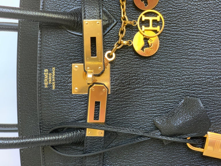 New Hermes Black Birkin 35cm Chevre de Coromandel Leather RARE For Sale 3