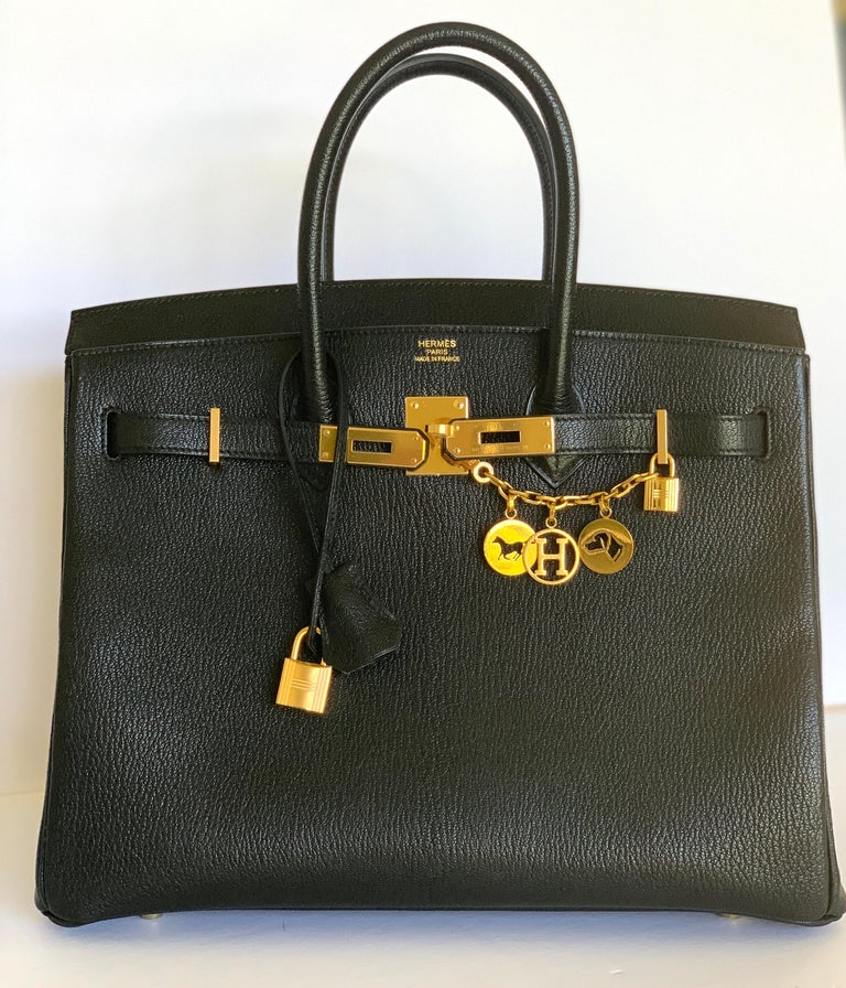 New Hermes Black Birkin 35cm Chevre de Coromandel Leather RARE For Sale 4