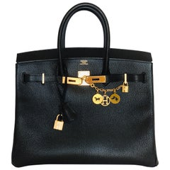 New Hermes Black Birkin 35cm Chevre de Coromandel Leather RARE