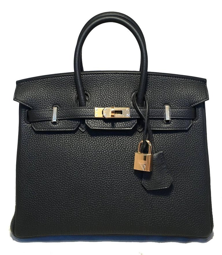 Hermes Black Clemence 25cm GHW Birkin Bag  In Excellent Condition For Sale In Philadelphia, PA