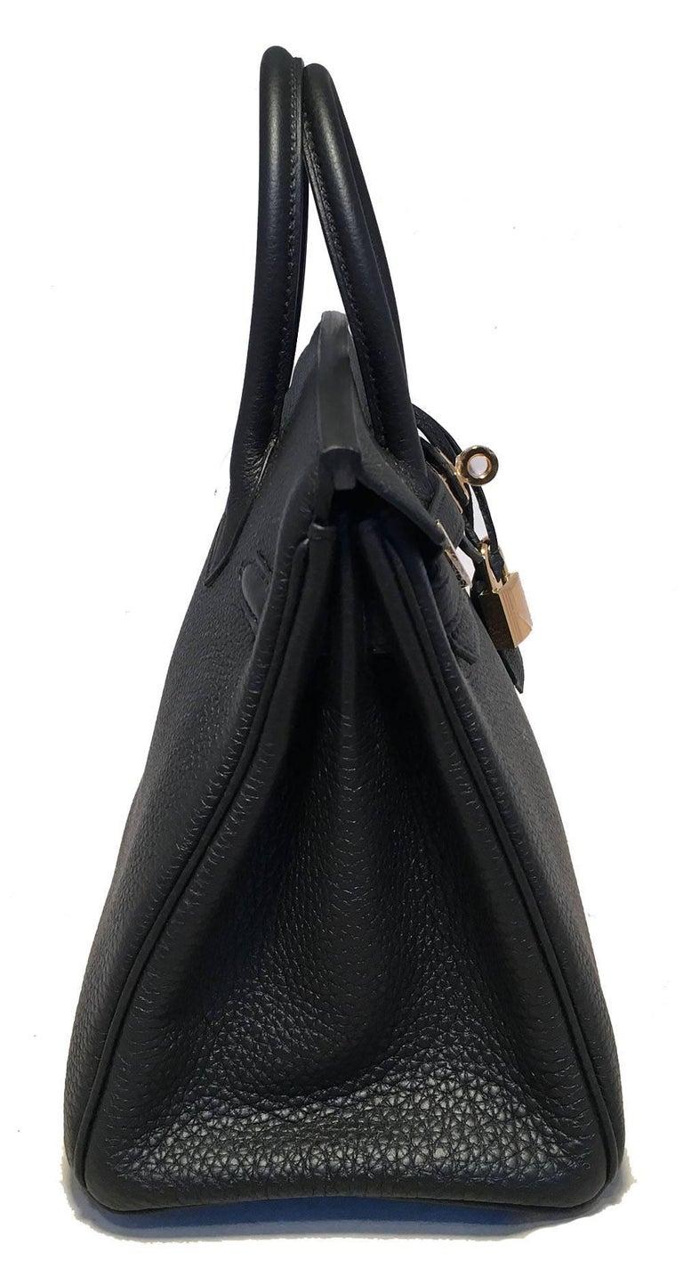 Women's Hermes Black Clemence 25cm GHW Birkin Bag  For Sale
