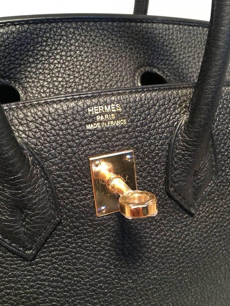 Hermes Black Clemence 25cm GHW Birkin Bag  For Sale 4