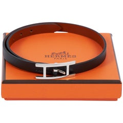 New Hermes Black Palladium Leather Wrap Bracelet with Box