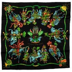 New Hermes Black Roi Soleil Silk Scarf In Box