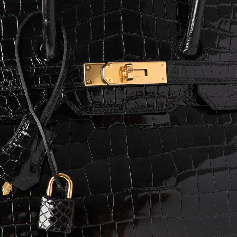 NIB Hermès Black Shiny Porosus Crocodile Birkin 35 GHW SKU: 110966  Handbag Condition: Mint Condition Comments: Mint Condition. Plastic on hardware. No visible signs of wear. Brand: Hermès Model: Birkin  Origin Country: France Handbag Silhouette:
