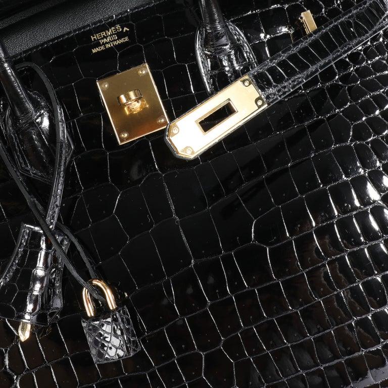 New Hermès Black Shiny Porosus Crocodile Birkin 35 GHW In New Condition For Sale In New York, NY