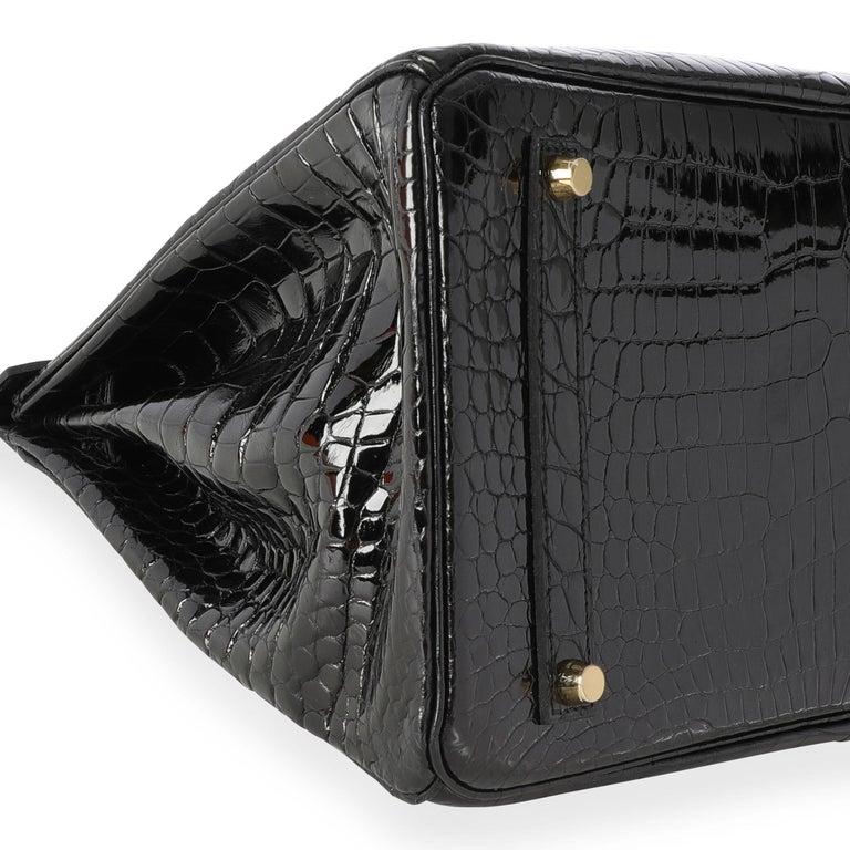 New Hermès Black Shiny Porosus Crocodile Birkin 35 GHW For Sale 1
