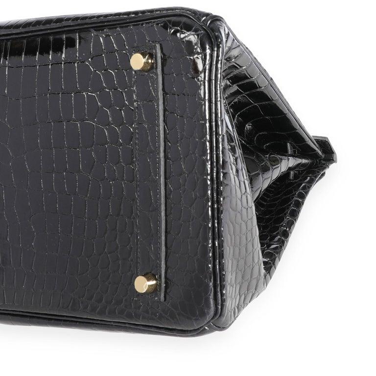 New Hermès Black Shiny Porosus Crocodile Birkin 35 GHW For Sale 2