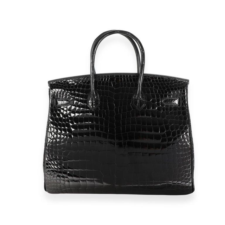 New Hermès Black Shiny Porosus Crocodile Birkin 35 GHW For Sale 3