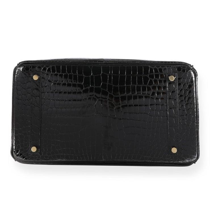 New Hermès Black Shiny Porosus Crocodile Birkin 35 GHW For Sale 4