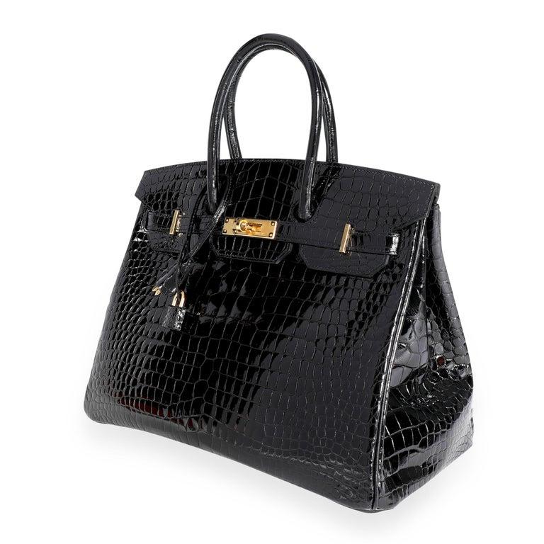 New Hermès Black Shiny Porosus Crocodile Birkin 35 GHW For Sale 5