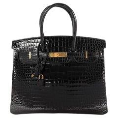 New Hermès Black Shiny Porosus Crocodile Birkin 35 GHW