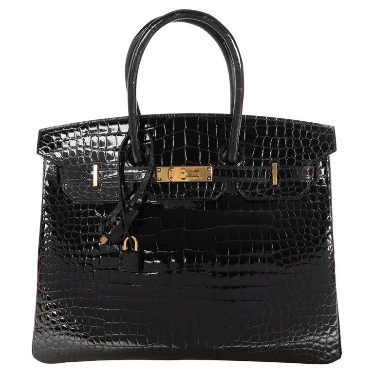 New Hermès Black Shiny Porosus Crocodile Birkin 35 GHW For Sale