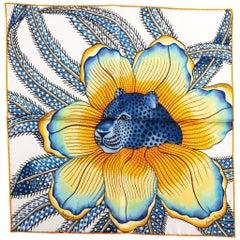 New Hermès Blue Baobab Silk Gavroche Scarf