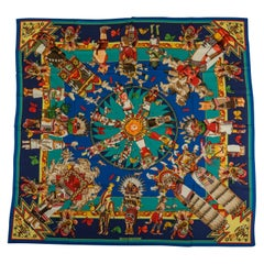 New Hermes Blue Cashmere Silk Kachinas Shawl Scarf, Oliver