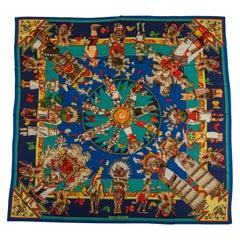 New Hermes Blue Cashmere Silk Kachinas Shawl Scarf, Oliver