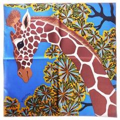 New Hermes Blue Giraffe Silk Gavroche Scarf