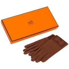 New Hermès Cognac Lambskin H Gloves in Box Size 7