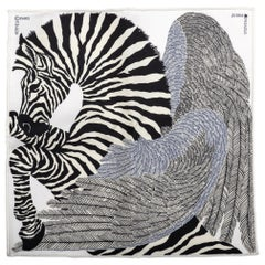 New Hermes Collectible Black and White Zebra Pochette Scarf