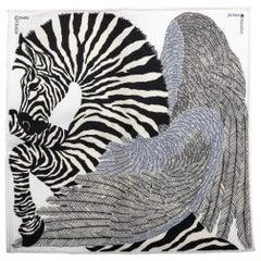New Hermes Collectible Black and White Zebra Pochette Scarf
