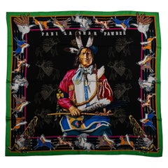 New Hermes Collectible Pawnee Black Scarf in Box