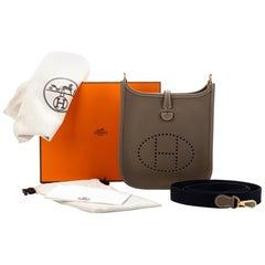 NEW Hermès Etoupe & Blue Mini Evelyne Bag