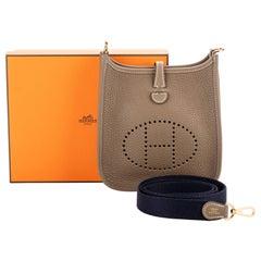 New Hermès Etoupe & Blue Mini Evelyne in Box