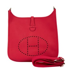 New Hermes Evelyne PM Rose Extreme Crossbody Bag with Box