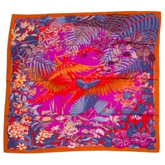 "New Hermes Flamingo Party Cashmere 54"" Shawl in Box"