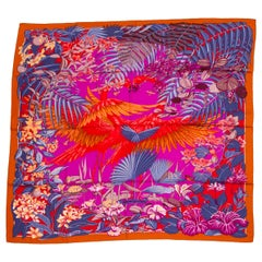 """New Hermes Flamingo Party Cashmere 54"""" Shawl in Box"""