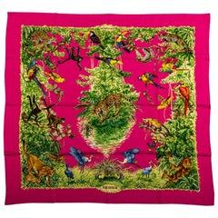 New Hermes Fuchsia Equateur Silk Scarf