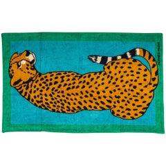 New Hermès Green Beach Towel Feline Print