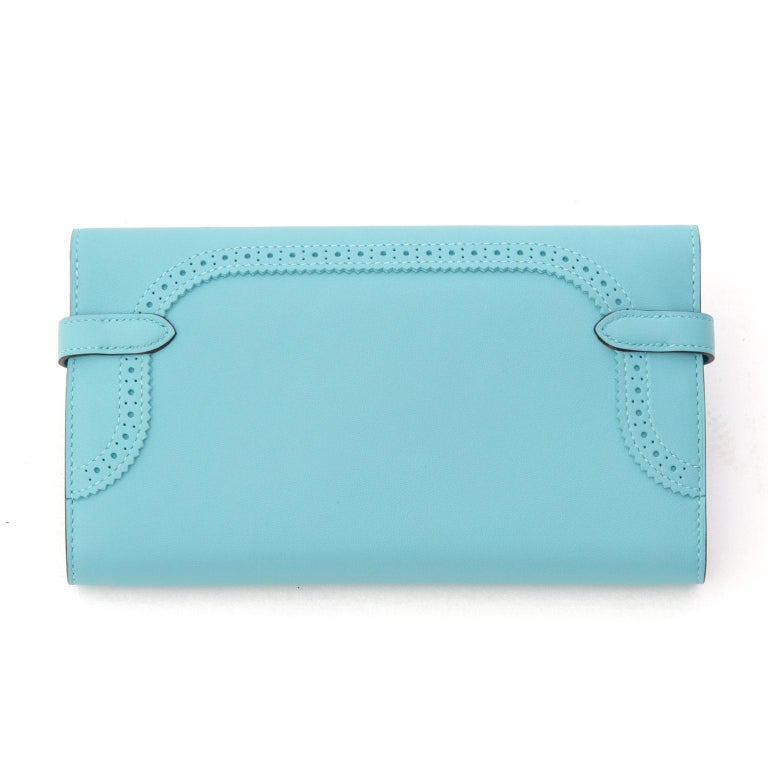 NEW Hermes Kelly Classic Ghillies Wallet Veau Swift Blue Atole PHW For Sale 1