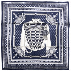 New Hermes Limited Edition Blue Bandana Brandebourg Scarf
