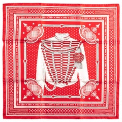 New Hermes Limited Edition Red Bandana Brandebourg Scarf