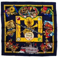 New Hermes Navy Orleans Silk Scarf
