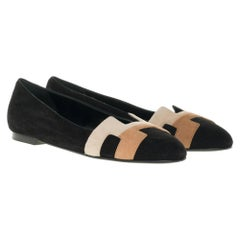 NEW Hermès Nice Flat shoes in black, beige and brown suede, size 37,5