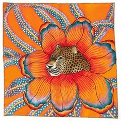 New Hermès Orange Baobab Silk Gavroche Scarf in Box