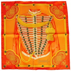New Hermès Orange Brandebourg Gavroche Scarf