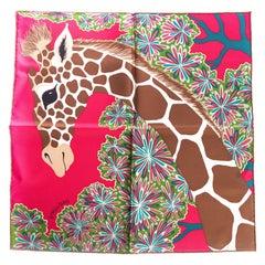 New Hermes Pink Giraffe Silk Gavroche Scarf