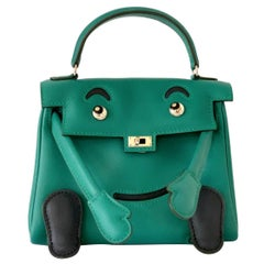 NEW Hermes Quelle Idole Kelly Doll Bag Malachite Swift Palladium Hardware RARE