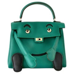 NEW Hermes Quelle Idole Kelly Doll Bag Malachite Swift Palladium Hardware RARE