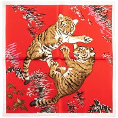 New Hermes Red Tiger Cubs Silk Gavroche Scarf