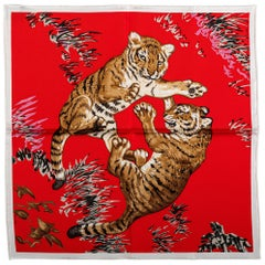 New Hermès Red Tiger Cubs Silk Gavroche Scarf in Box