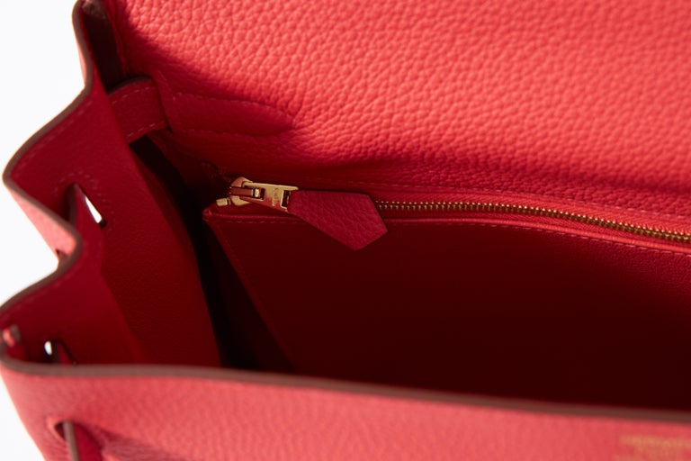 New Hermès Rouge Pivoine Togo 32cm Kelly Bag in Box 5