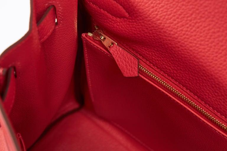 New Hermès Rouge Pivoine Togo 32cm Kelly Bag in Box 6